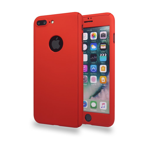 360° Extreme Snap On Protective Case For iPhone 7/8 Plus Red