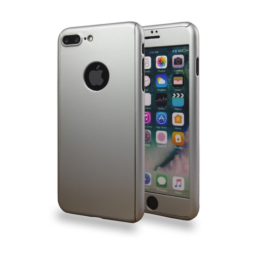 360° Extreme Snap On Protective Case For iPhone 7/8 Plus Sliver