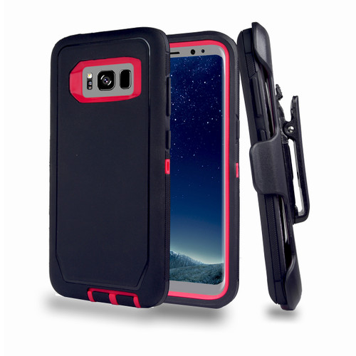 Sports Guard Case with Holster Combo for Samsung Galaxy S8 Plus Black-Hot Pink