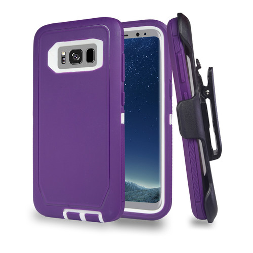 Sports Guard Case with Holster Combo for Samsung Galaxy S8 Plus Violet-White