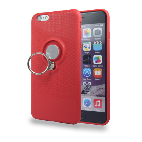 Coolring Skin Case with Kickstand for iPhone 6 Plus Red
