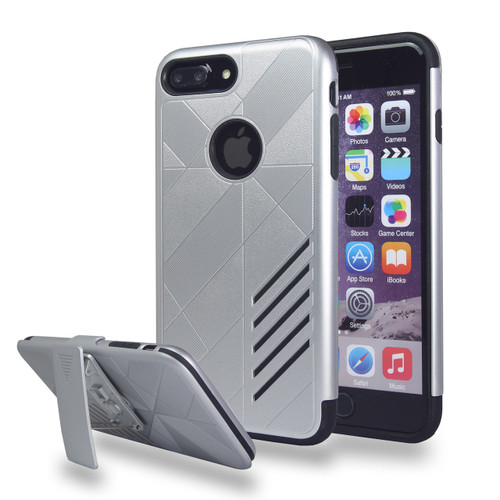 Avant Guard Case with Holster Combo for iPhone 7/8 - Silver-Black