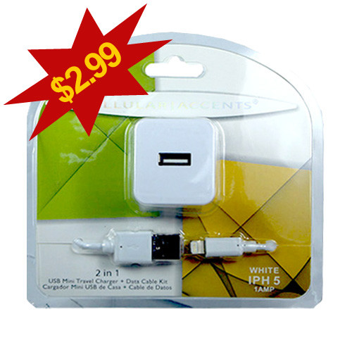 Cellular Accents 2 In 1 USB Mini Travel Charger + Data Cable for iPhone 5-6-7; White