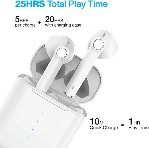 Naztech Xpods True Wireless Stereo Sound Earbuds (Black and white)