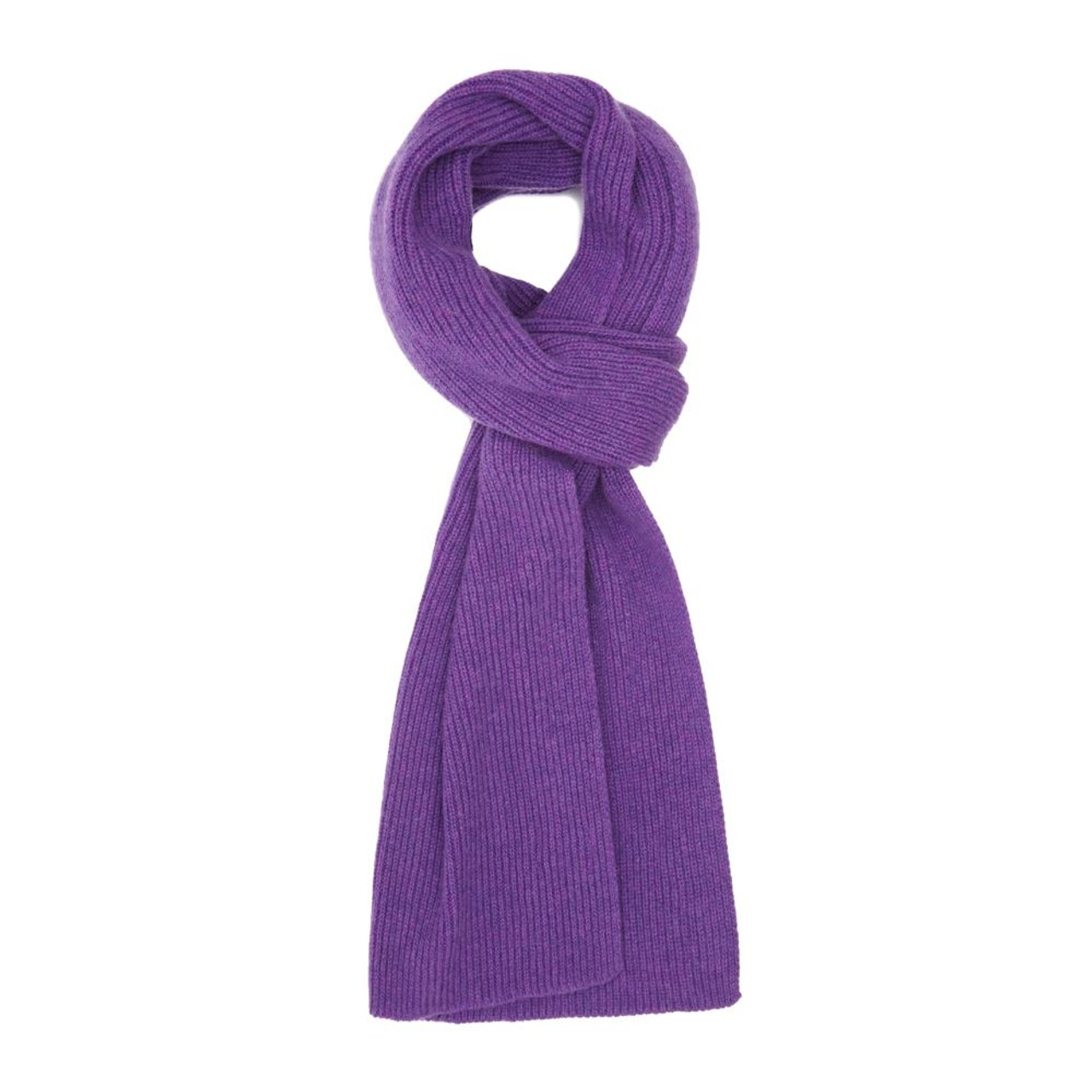 91b89558606aea Cashmere Ribbed Scarf, Purple - Cashmere