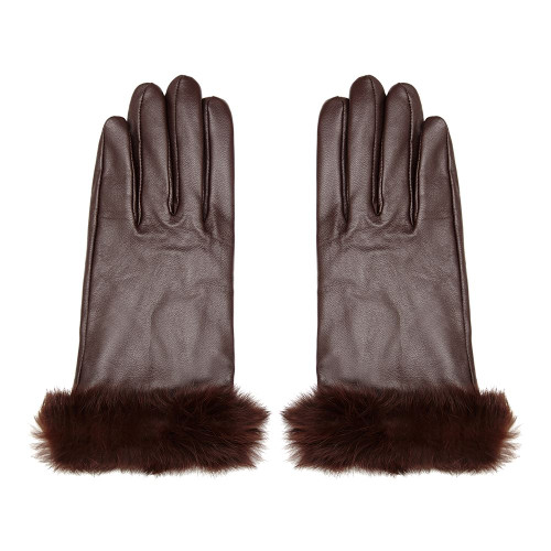 Leather Gloves with Fur Trim, Brown