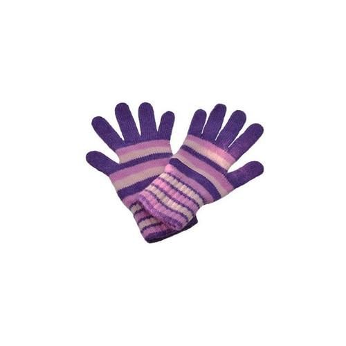 Striped Cashmere Gloves, Dark Purple