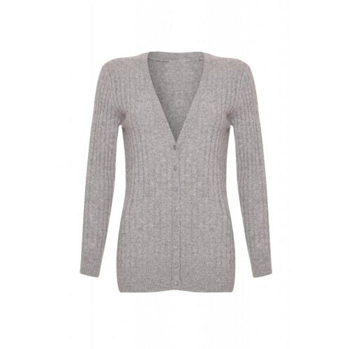 Long Cashmere Cable Cardigan, Grey