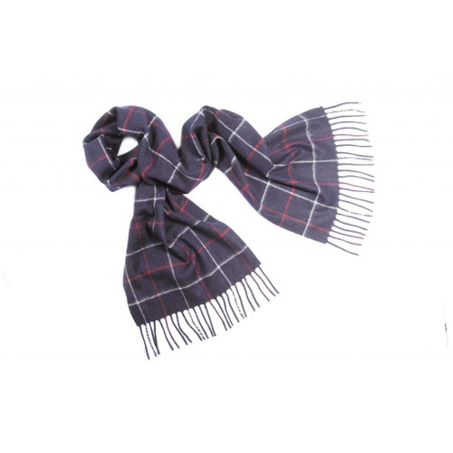 Cashmere Check Scarf, Navy