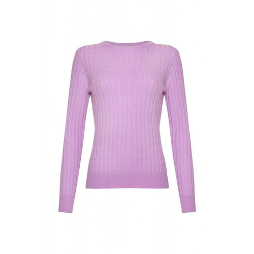 Cashmere Cable Round Neck Jumper, Purple