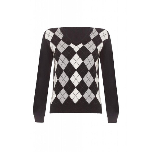 Cashmere Argyle V Neck Jumper, Black
