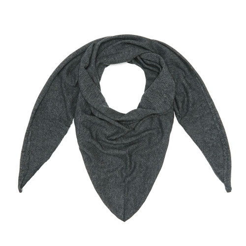 Cashmere Triangle Scarf, Charcoal