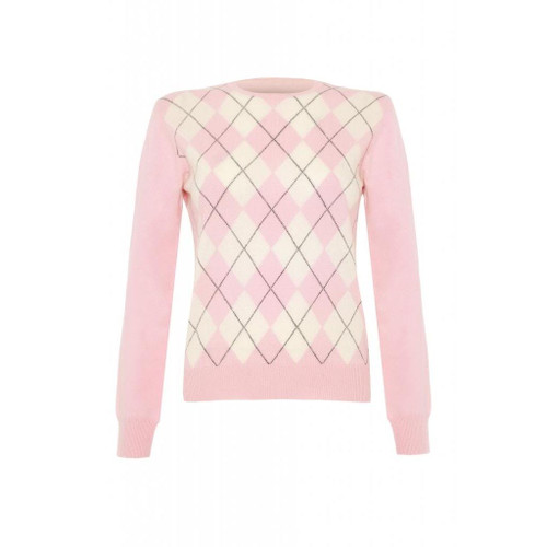Cashmere Argyle Round Neck Jumper, Pink