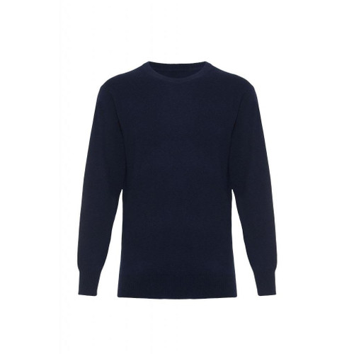 Cashmere Round Neck Jumper, Navy