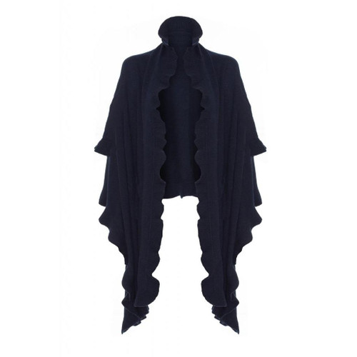 Cashmere Frilly Wrap, Navy