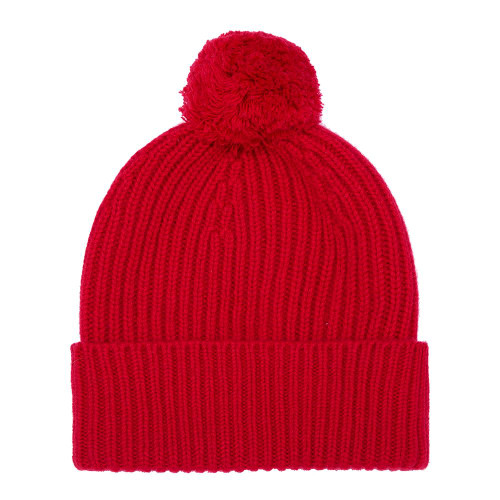 Cashmere Bobble Hat, Red