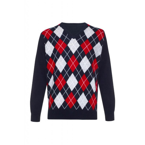 Cashmere Argyle V Neck Jumper, Navy