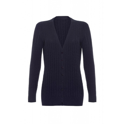 Long Cashmere Cable Cardigan, Navy