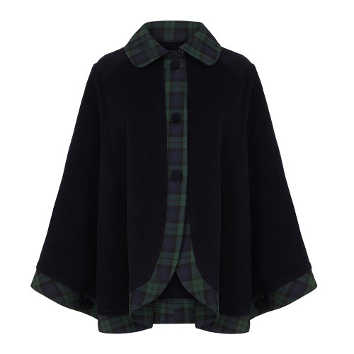 Tartan Trim Cape, Black Watch