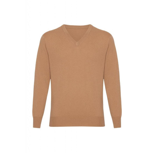 Cashmere  V Neck  Jumper, Mens, Beige