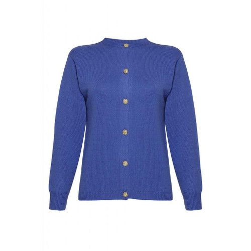 Cashmere Golfer Cardigan, Electric Blue