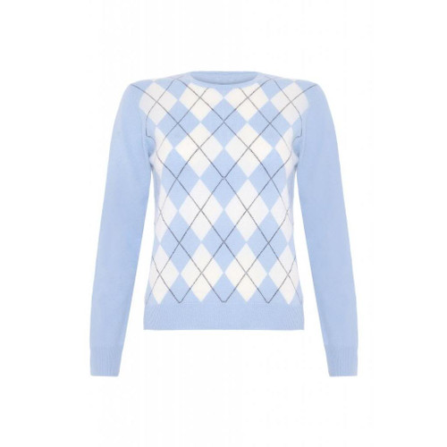 Cashmere Argyle Round Neck Jumper,  Blue