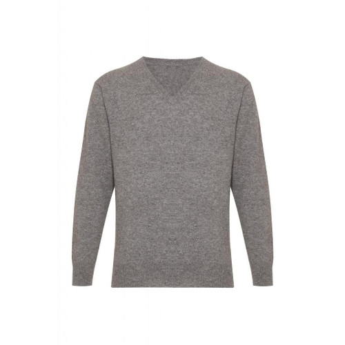 Cashmere  V Neck  Jumper, Grey