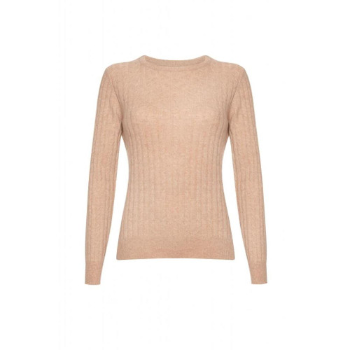 Cashmere Cable Round Neck Jumper, Beige