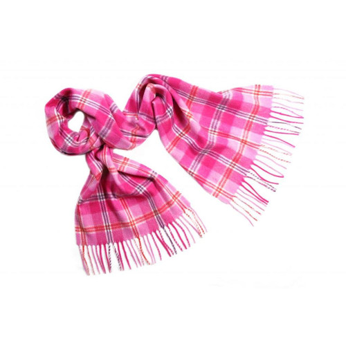 Cashmere Check Scarf, Pink