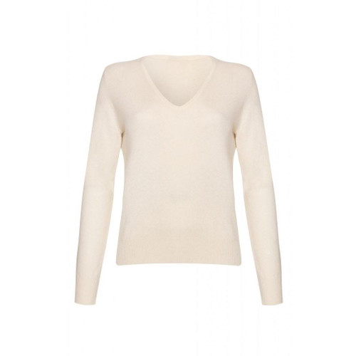 Cashmere V Neck Jumper, White