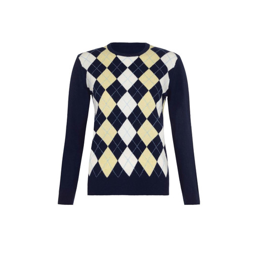 Cashmere Argyle Round Neck Jumper, Navy
