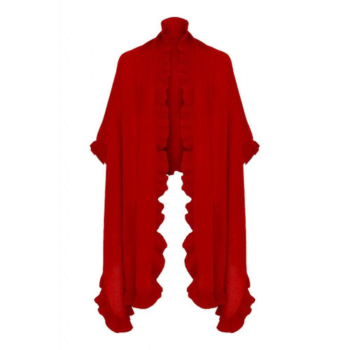 Cashmere Frilly Wrap, Red