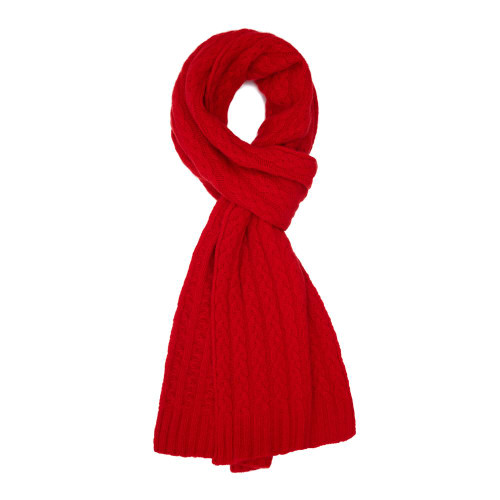Cashmere Cable Scarf, Red