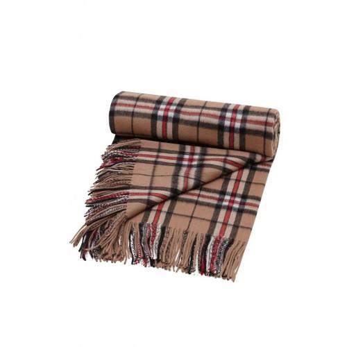 Pure Cashmere Tartan Blanket, Camel Thomson