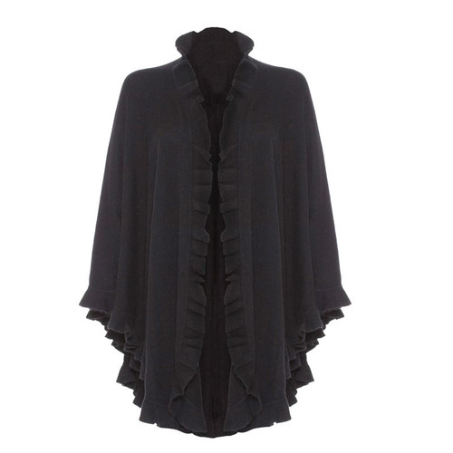 Cashmere Frilly Cape, Black
