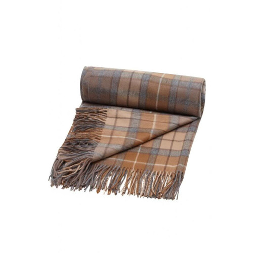 Pure Cashmere Tartan Blanket, Natural Buchanan