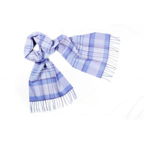 Cashmere Check Scarf, Blue