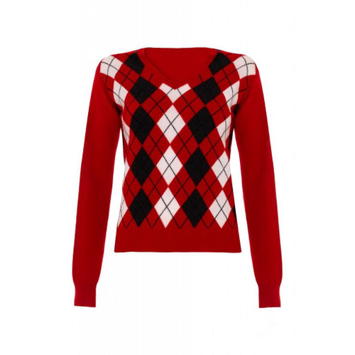 Cashmere Argyle V Neck Jumper, Red