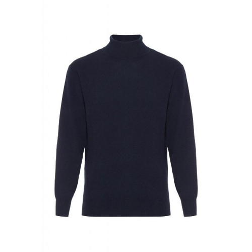Cashmere High Neck Jumper, Navy