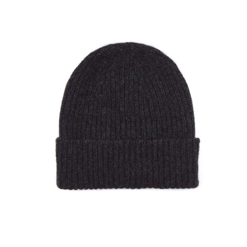 Mens Cashmere Beanie Hat, Charcoal