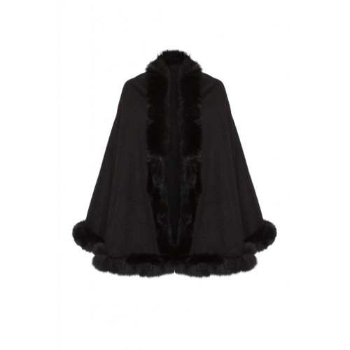 Cashmere Cape With Fox Fur