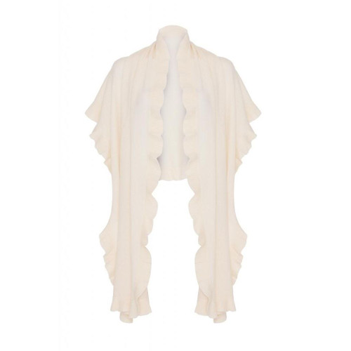 Cashmere Frilly Wrap, White