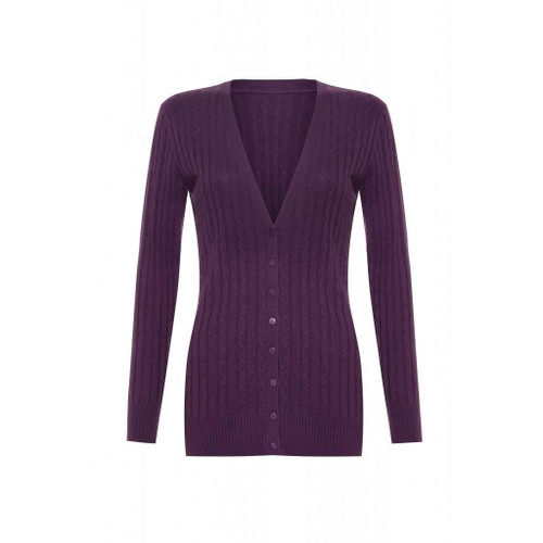 Long Cashmere Cable Cardigan, Purple