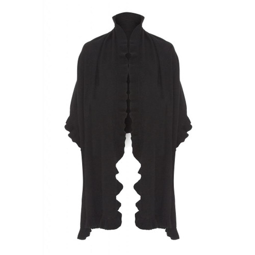 Cashmere Frilly Wrap, Black