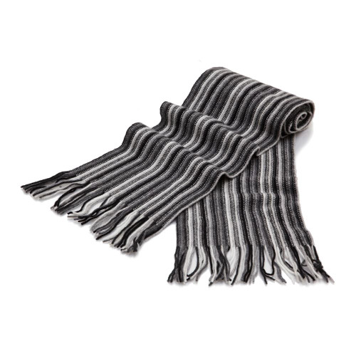 Cashmere 1ply Striped Scarf, Black