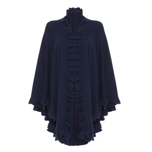 Cashmere Frilly Cape, Navy