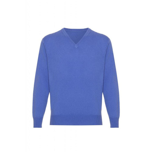 Cashmere  V Neck  Jumper, Mens, Electric Blue
