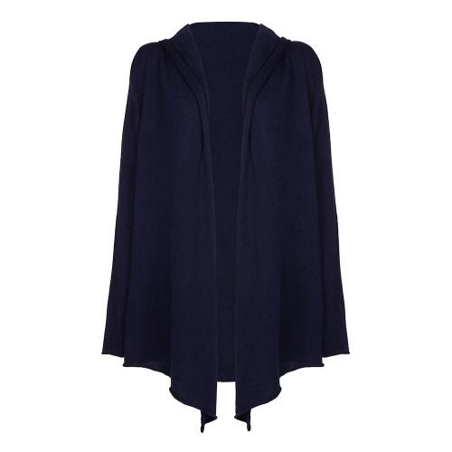 Ladies Hooded Cardigan, Navy