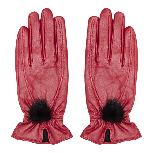 Leather Gloves with Fur Pompom, Red
