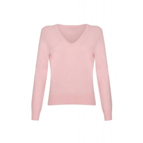 Cashmere V Neck Jumper, Baby Pink